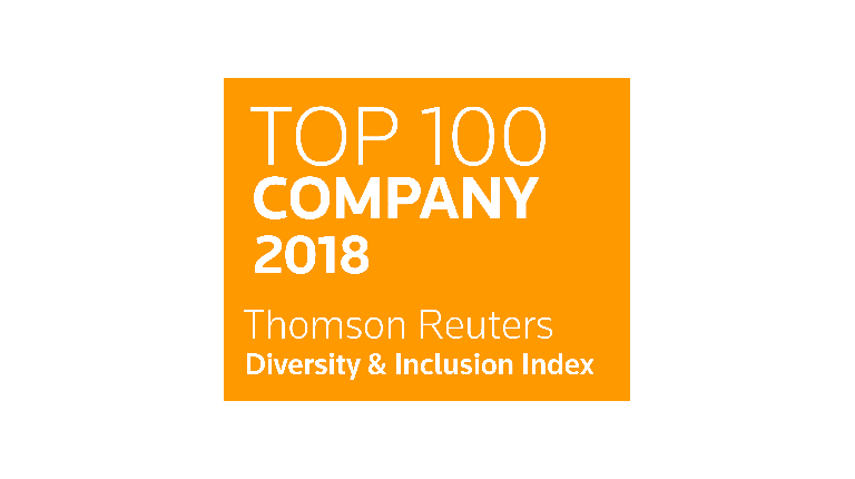 Image of Thomson Reuters Top 100 Company 2018 logo for Diversity & Inclusion Index