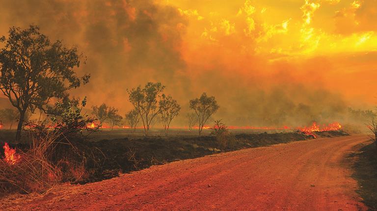 Australian Bushfires - fire and smoke in the sky
