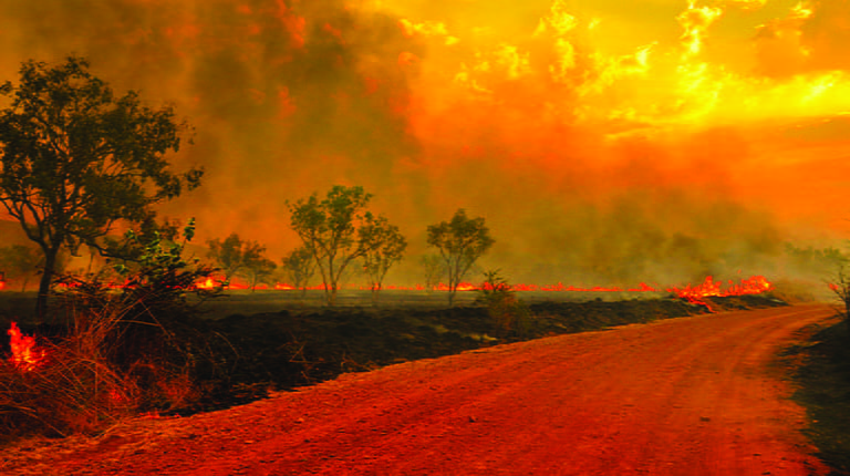 Australian Bushfires - fire and smoke in the sky